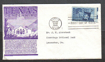 Us Fdc 1945 Texas Statehood 3C C S Anderson Cachet First Day Of Issue Cover