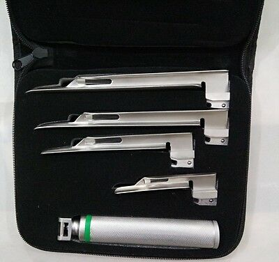 Miller Fiber Optic (Acrylic) Laryngoscope Set With 4 Blades + C Size Handle,