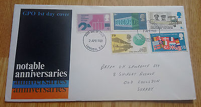 GB QEII 1969 Notable Anniversaries illustrated FDC - London FDI cancellation
