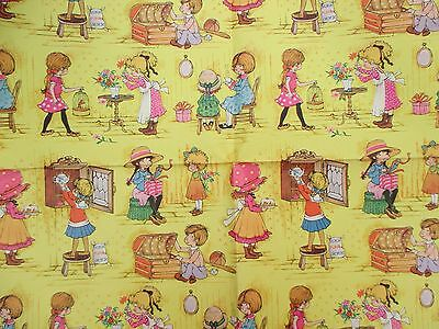 """VINTAGE 1970's GIRLS BIRTHDAY 3 SHEETS WRAPPING PAPER """"HOLLY HOBBIE LOOK"""" NOS"""