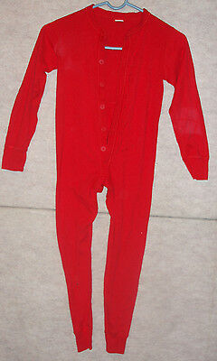 Youth red Morgan Mills union suit / long johns, sz 6-8