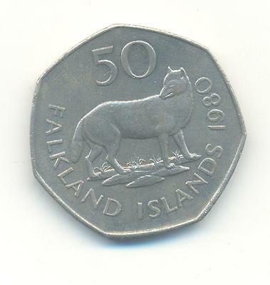 Very Nice Rare.falkland Island.50 Pence.1980.aunc.very Collectable.c.83