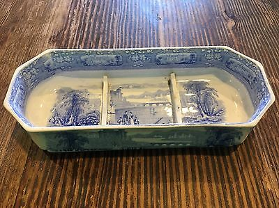 Rare 1830 Staffordshire Transfer Decorated Divided Dish