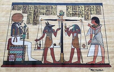 Vintage Woven Canvas Egyptian Painting Ra Thoth Anubis Sun God Artwork Egypt