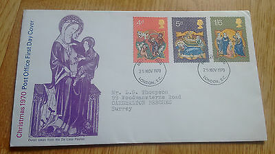 GB QEII 1970 Christmas illustrated FDC - London FDI cancellation, with insert