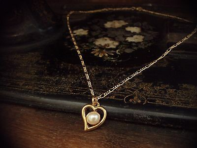 Vintage Round Pearl in Heart Necklace on a Gold Plated Figaro Chain