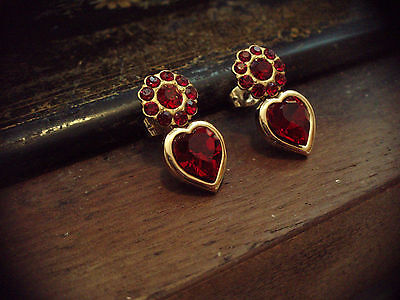 Vintage Gold Heart with Red Crystal Pierced Earrings