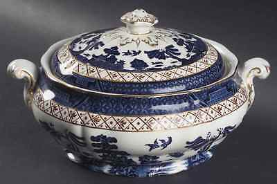 Booths REAL OLD WILLOW BLUE Round Covered Vegetable Bowl 6307626