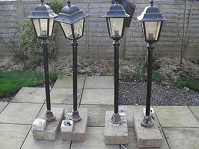 4 VICTORIAN LANTERN STYLE POST GARDEN LIGHTS LAMPS                             a
