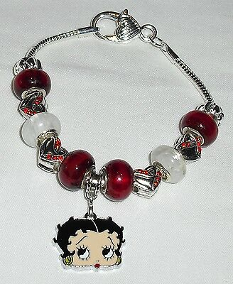 Betty Boop Silver Plated European Bracelet Heart Lobster Claw Closure Handmade
