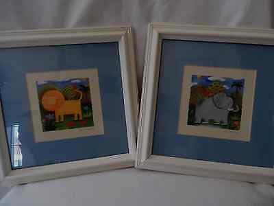 Children's Animal Prints Lion and Elephant,Matted,Framed,Glass 9 1/2 X 9 1/2