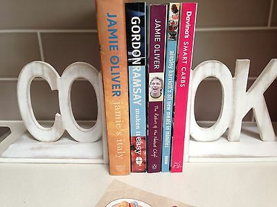 NEW ENGLAND COOK BOOKENDS WHITE DISTRESSED LARGE WOOD LETTERS Kitchen DECOR
