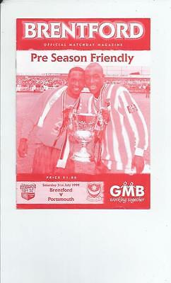 Brentford v Portsmouth Friendly Football Programme 1999/00
