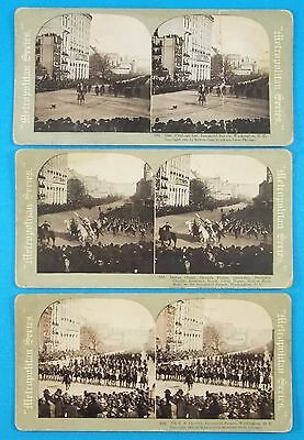 3 Stereoview Cards 1905 Roosevelt  Inaugural With 6 Indian Chiefs (Geronomimo+)