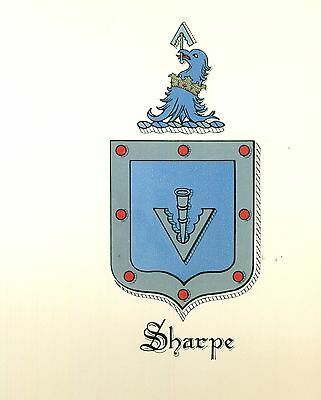 *Great Coat of Arms Sharpe Family Crest genealogy, would look great framed!