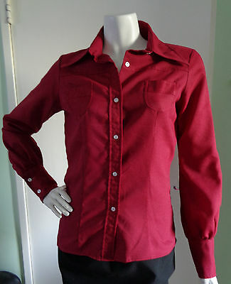 Vintage 1970's Organically Grown by Young Rexwell Maroon Fitted Crepe Blouse S-M