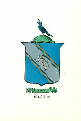 *Great Coat of Arms Tuttle #1 Family Crest genealogy, would look great framed!