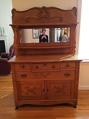 Antique Victorian Solid Oak Sideboard Buffet Hutch With Beveled Edge Mirror