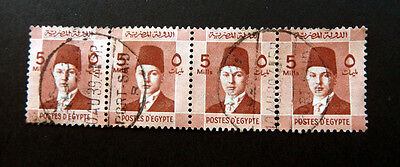 Egypt Stamps  1937 Farouk Stamps Block of 4  - 5 mils Horizantal     Used