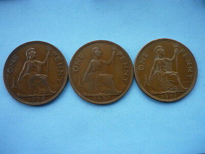 George VI Penny varieties 1937 (Three coins)
