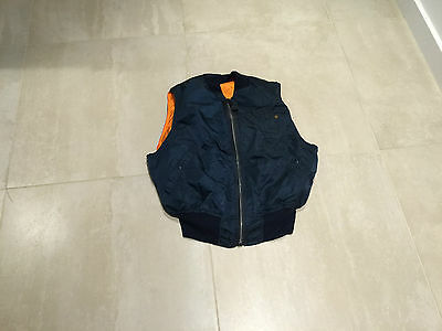 "alpha ma1 ""vest"" new old stock, made in usa , 1991,reversible, medium,blue"