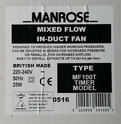 Genuine Manrose MF100T In-Line Mixed Flow Extractor Fan with Timer