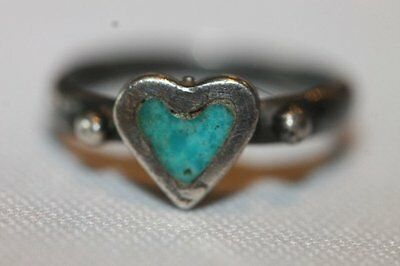 Vintage Sterling Silver Turquoise Heart Ring Size 4.25