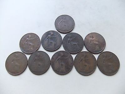 10 X British One Penny Coins - 1900 To 1936