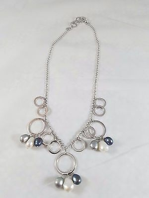 """Tiffany & Co. Iridesse Pearl 925 Sterling Silver Circle Necklace 17"""" long"""