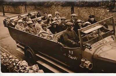 """RP ILFRACOMBE - COLWILL'S Charabanc No. 8, """"John Daniell in front seat"""""""