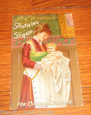 1888 Mrs Winslows Soothing Syrup trade card  1888 calendar of reverse side