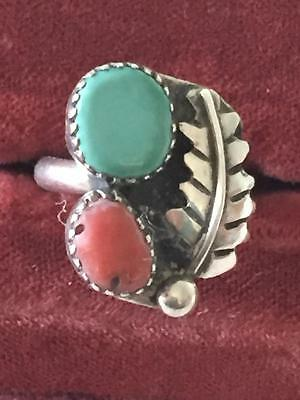 Vintage Sterling Native American  Coral & Turquoise Ring Size 6 NR