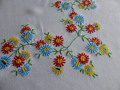 White square hand embroidered table cloth
