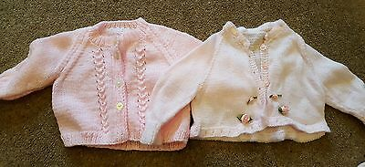 2 x hand knitted girls cardigans approx 3-6 6-9 months Excellent condition