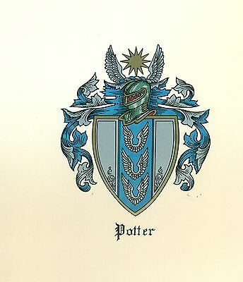 *Coat of Arms Potter (blue) Family Crest genealogy, would look great framed!