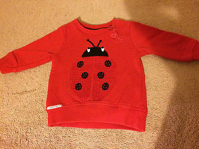 Next jumper sweat top material ladybird design age 3 to 6 months