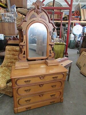 Antique White Ash and Walnut Dresser with Mirror and Dresser Boxes