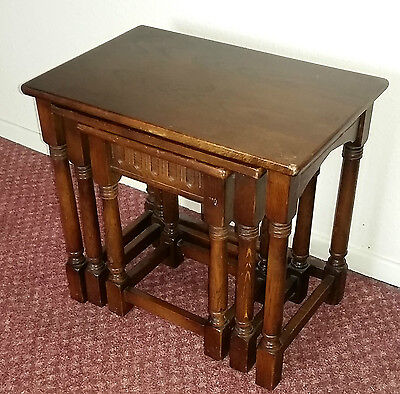 Superb Nest of 3 Solid Wood Tables / Coffee Tables