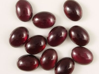 4 PIECES OF 6x4mm OVAL CABOCHON-CUT NATURAL ALMANDITE GARNET GEMSTONES £1 NR!