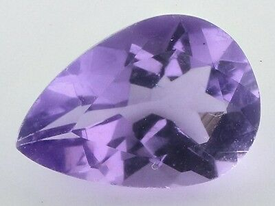 10x7mm PEAR-FACET LIGHT-PURPLE NATURAL BRAZILIAN AMETHYST GEMSTONE £1 NR!