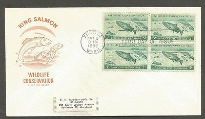 Us Fdc 1956 Wildlife Conservation King Salmon 3C Hf Cachet First Day Cover Seatt