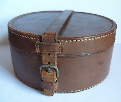 Vintage BROWN LEATHER COLLAR BOX Hand Stitched VGC