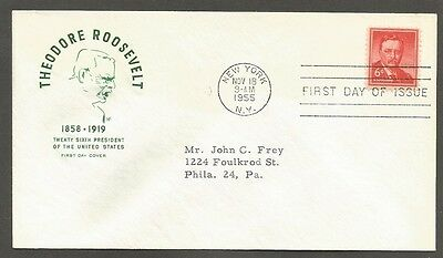 Us Fdc 1955 Theodore Roosevelt 6C Stamp Hf Cachet First Day Of Issue Cover Ny