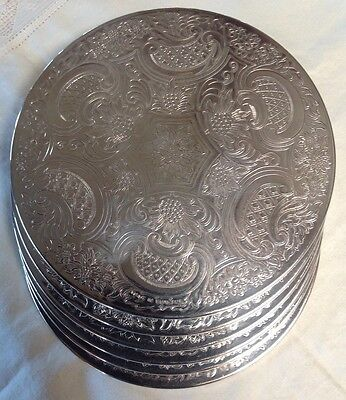 Set of 6 Vintage 18cm Silverplated Large Placemat Coasters - Made In England -