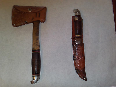 Western Axe Hunting Knife Combination Vintage Hunting Knife Hatchet Combo