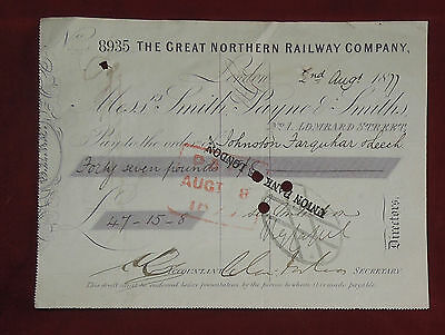 The Great Northern Railway Company Cheque Dated 1877