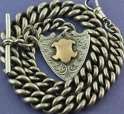 1911 Large Heavy Antique Solid Silver Albert Pocket Watch Chain W Fob 76.53g