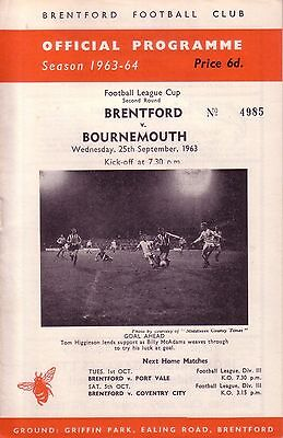 BRENTFORD v BOURNEMOUTH 1963/64 LEAGUE CUP