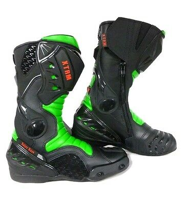 Xtrm Core Motorbike Motorcycle Racing Sports Armour Boots All Green Size Uk 8