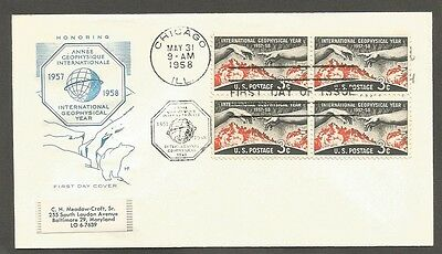 Us Fdc 1958 International Geophysical Year 3C Stamps Hf Cachet First Day Cover